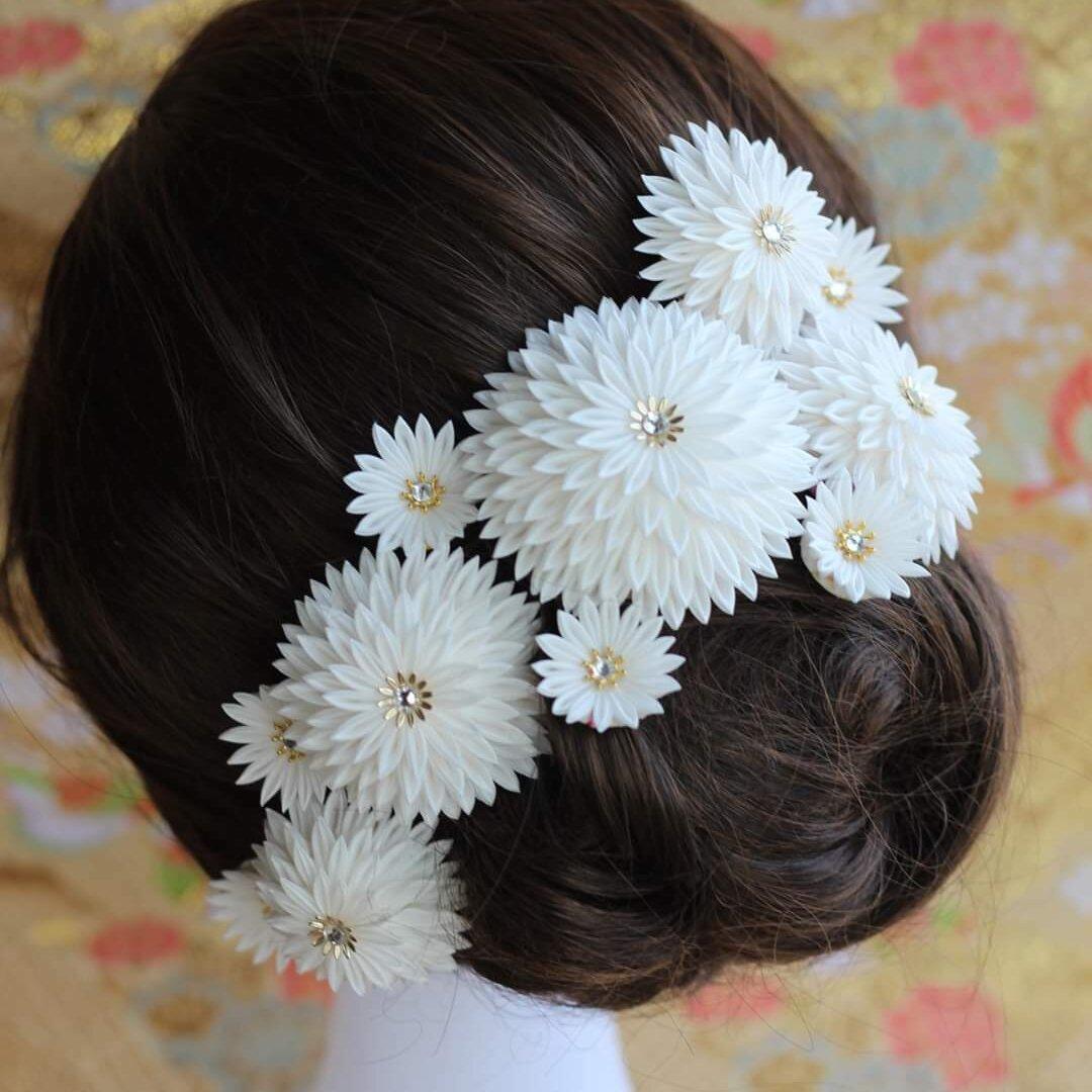 つまみ細工の髪飾り 絹100%