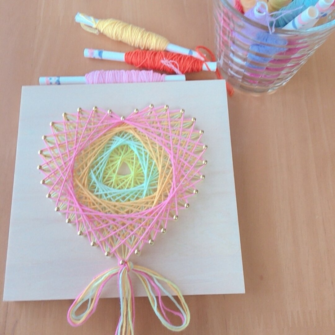 【手作りキット】糸かけアート-ハート(Pastel)