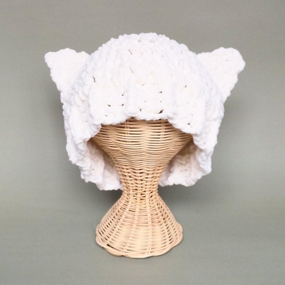 白猫耳ニット帽