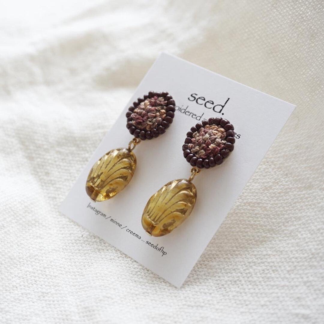 刺繍&ビーズ刺繍のイヤリング №070