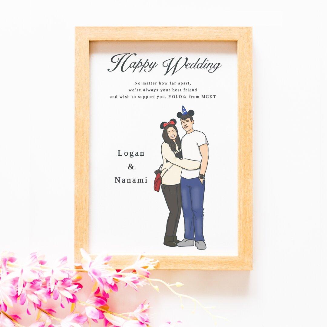 友人 友達の結婚祝い似顔絵ウェルカムボード(商品番号SNW)