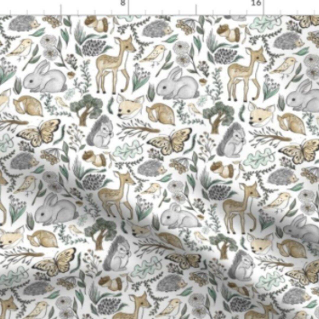 輸入生地 生地 鳥 熊 ベアー ふくろう キツネ オウル フォックス 森林 エメラルド 森 動物 ハンドメイド素材 緑 自然 風景