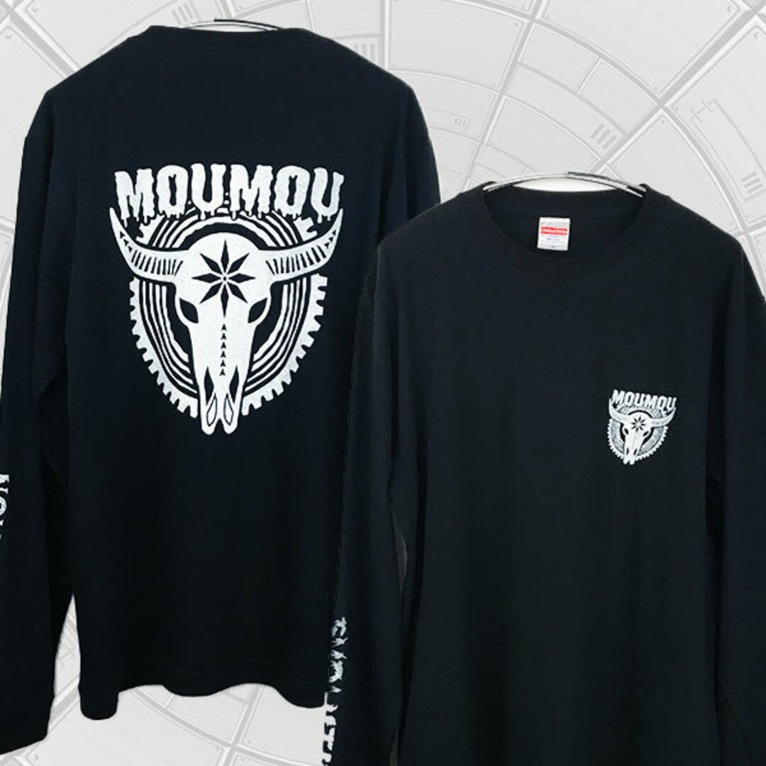「MOUMOU」バッファロー スカル 牛 丑 ロンT(1.6インチリブ)黒 ※両面&袖プリント