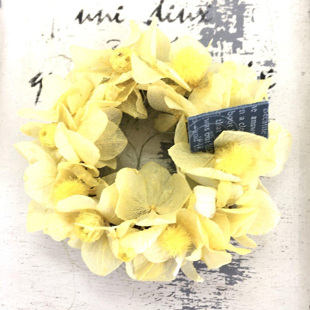黄色のミニマグネットリース⭐️プリザーブドフラワー⭐️無料プレゼント包装サービス