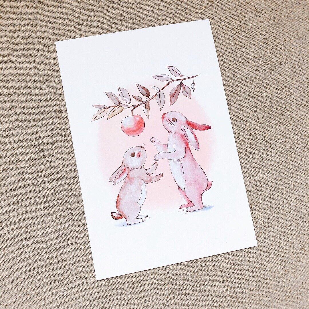 ウサギのポストカード