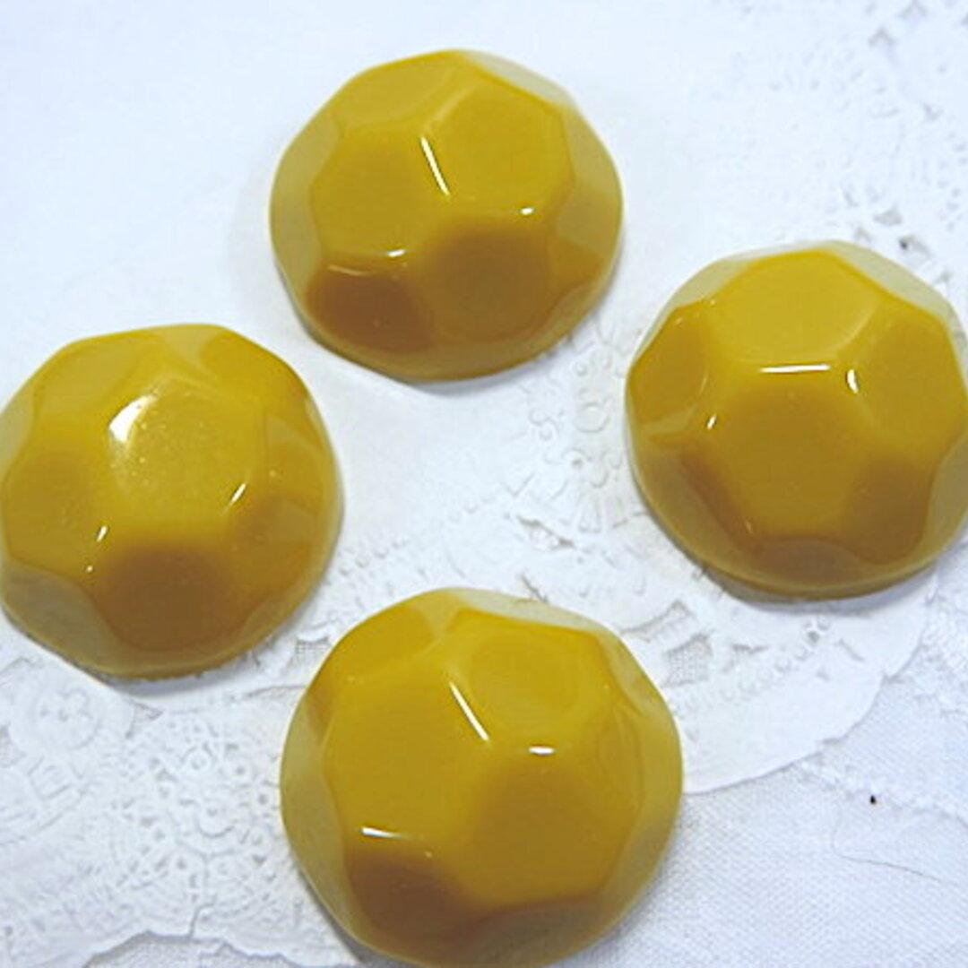 辛子色 円形カボション 2個