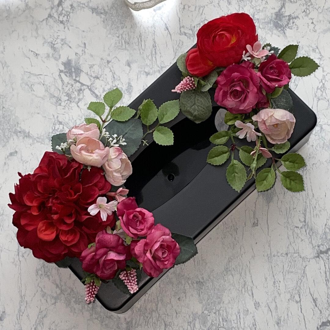 お花のティッシュケース RED