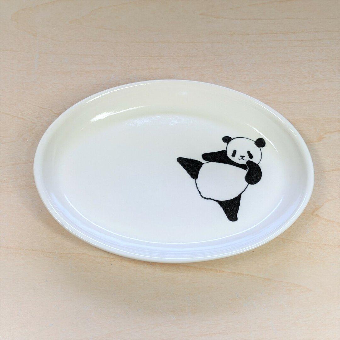 楕円皿(ハイキックパンダ)