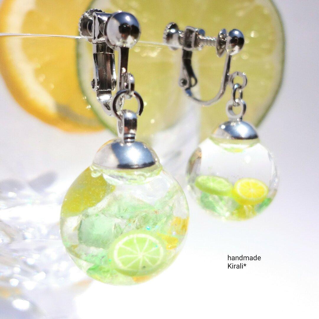 爽やか☆レモンライムソーダの液体ガラスドームイヤリング