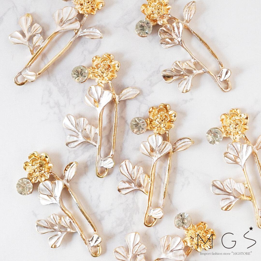 【4個】アンティーク フラワー ホワイト 花 パーツ P0352