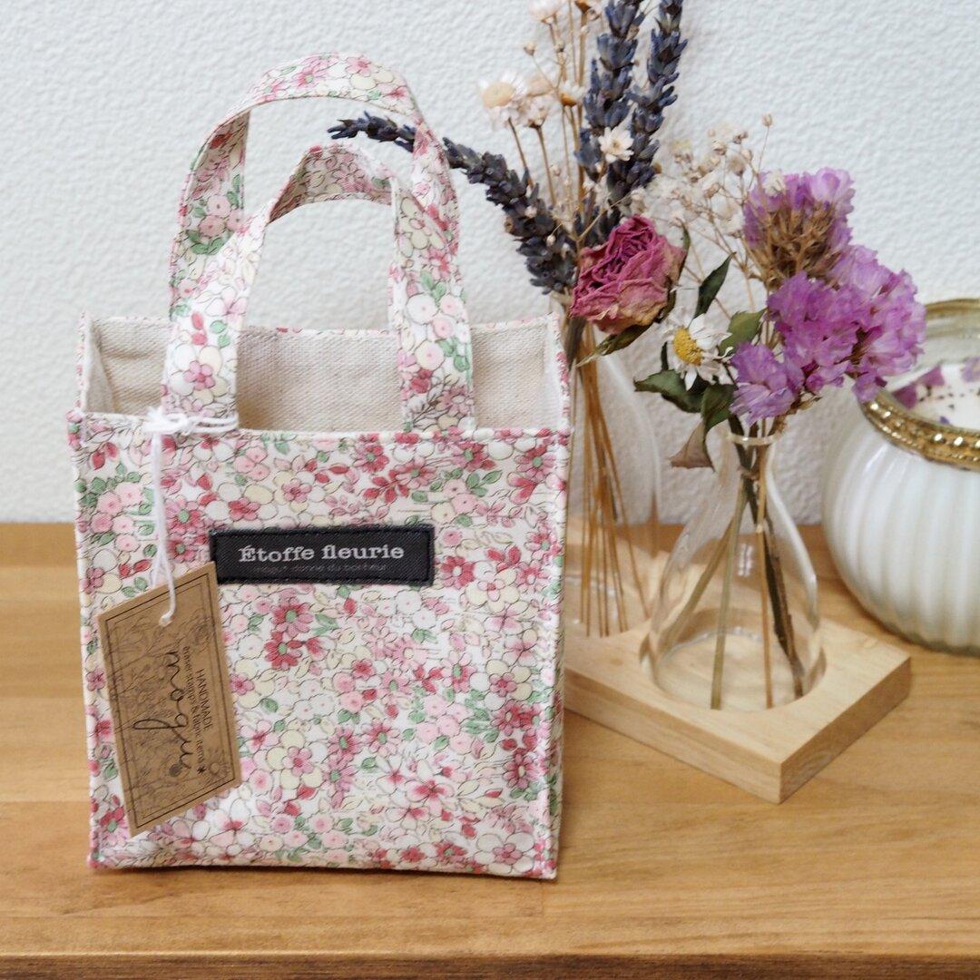 小花柄の紙袋風ミニトートバッグ(ピンク)