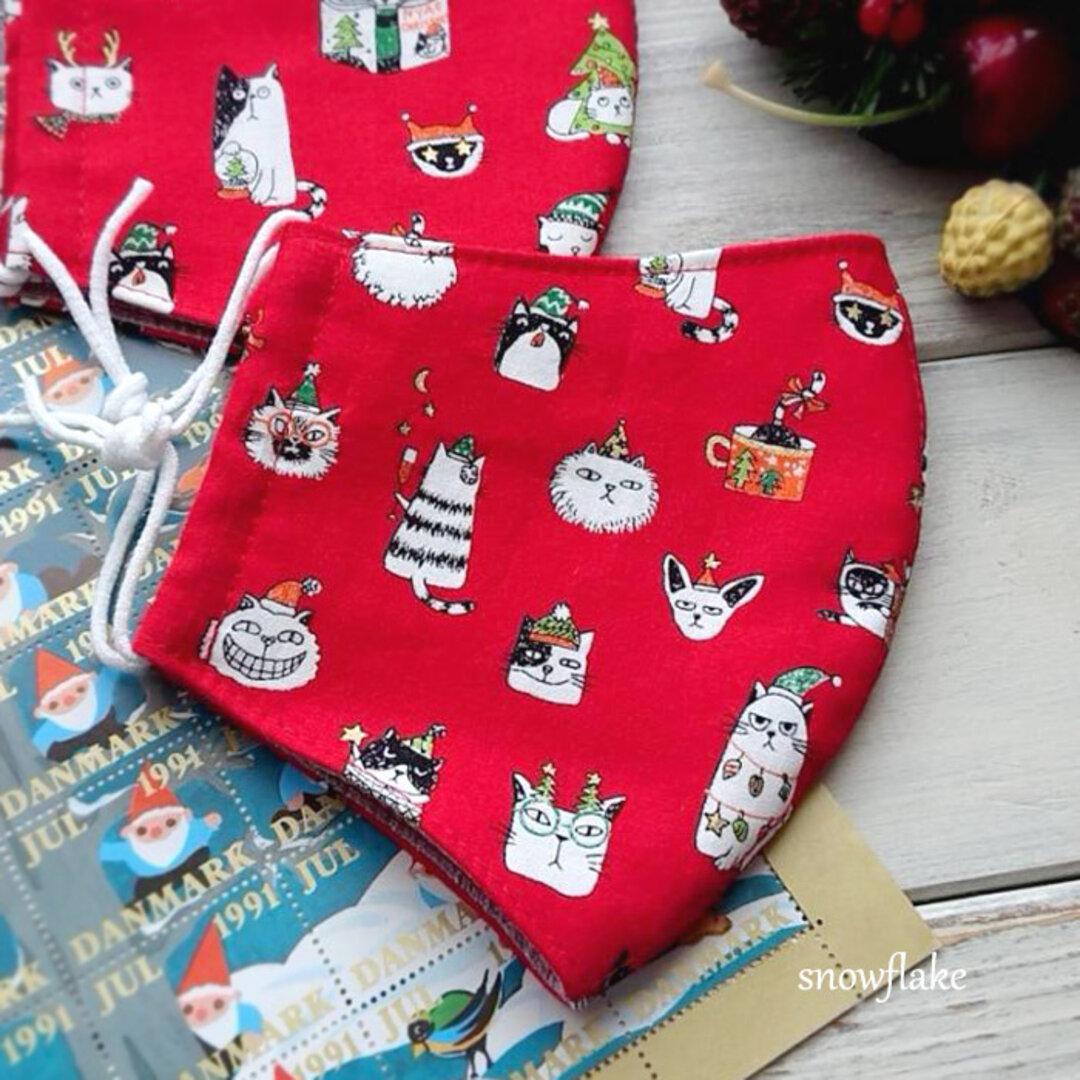 3重立体マスク クリスマス猫/赤(レディース)