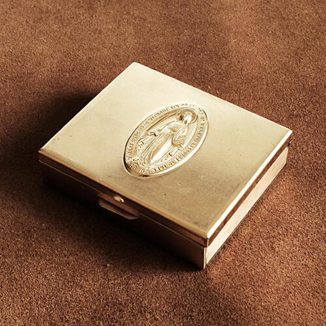 真鍮 小物ケース (聖母マリア)グアダルーペ メダイ キリスト ピルケース 小物入れ アクセサリーケース 十字架 メキシコ ネックレス