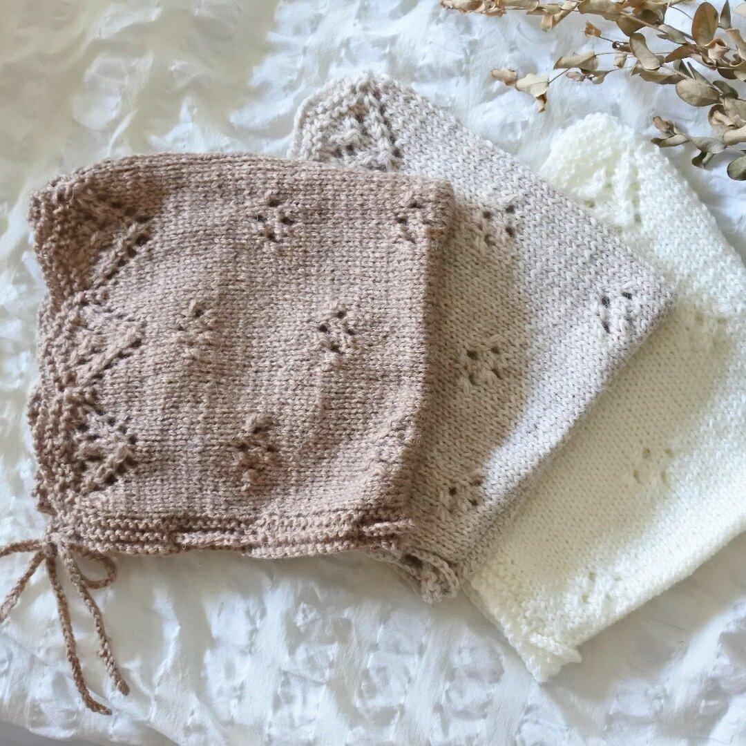 秋色 透かし編みのボンネット