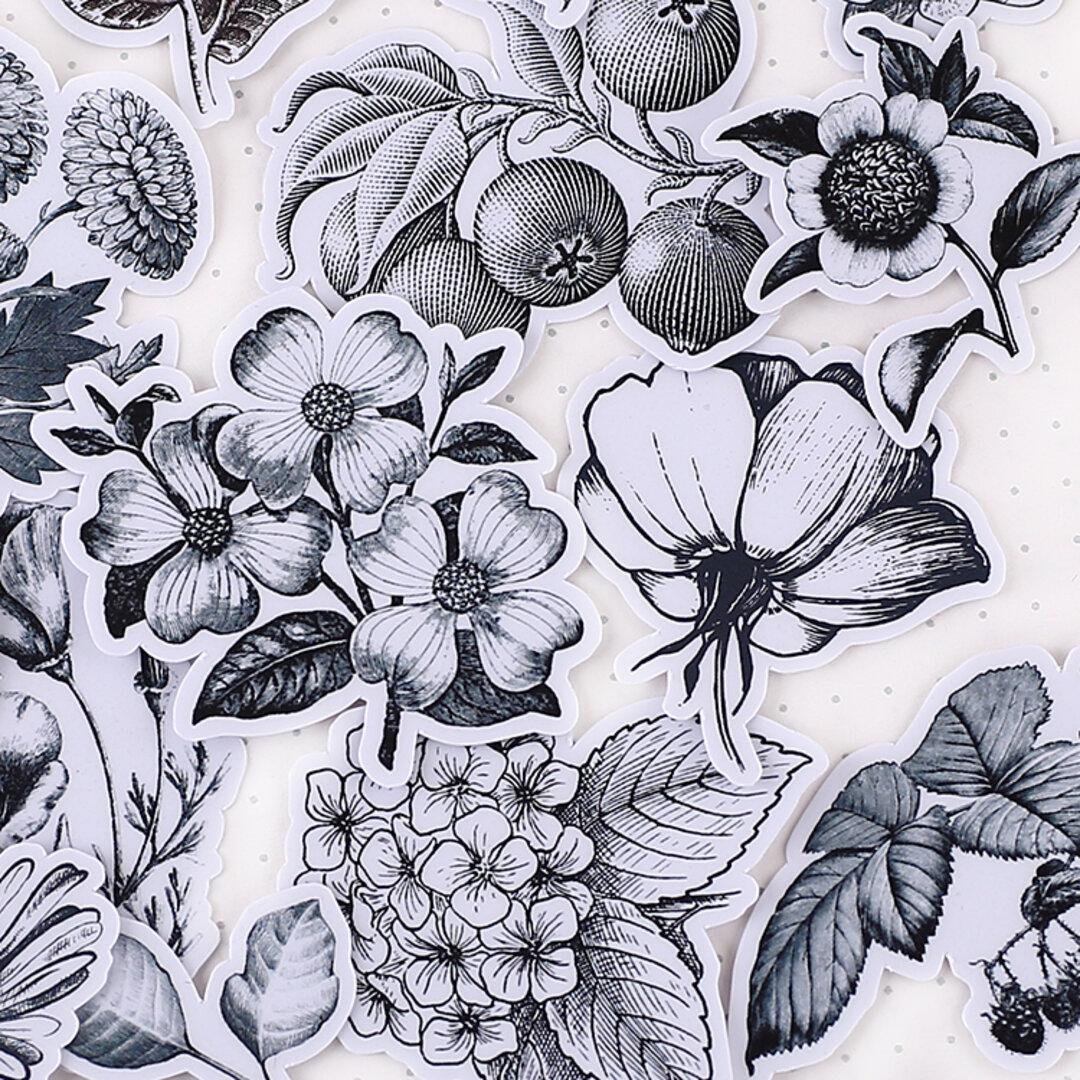 美しい黒白 お花のフレークシール