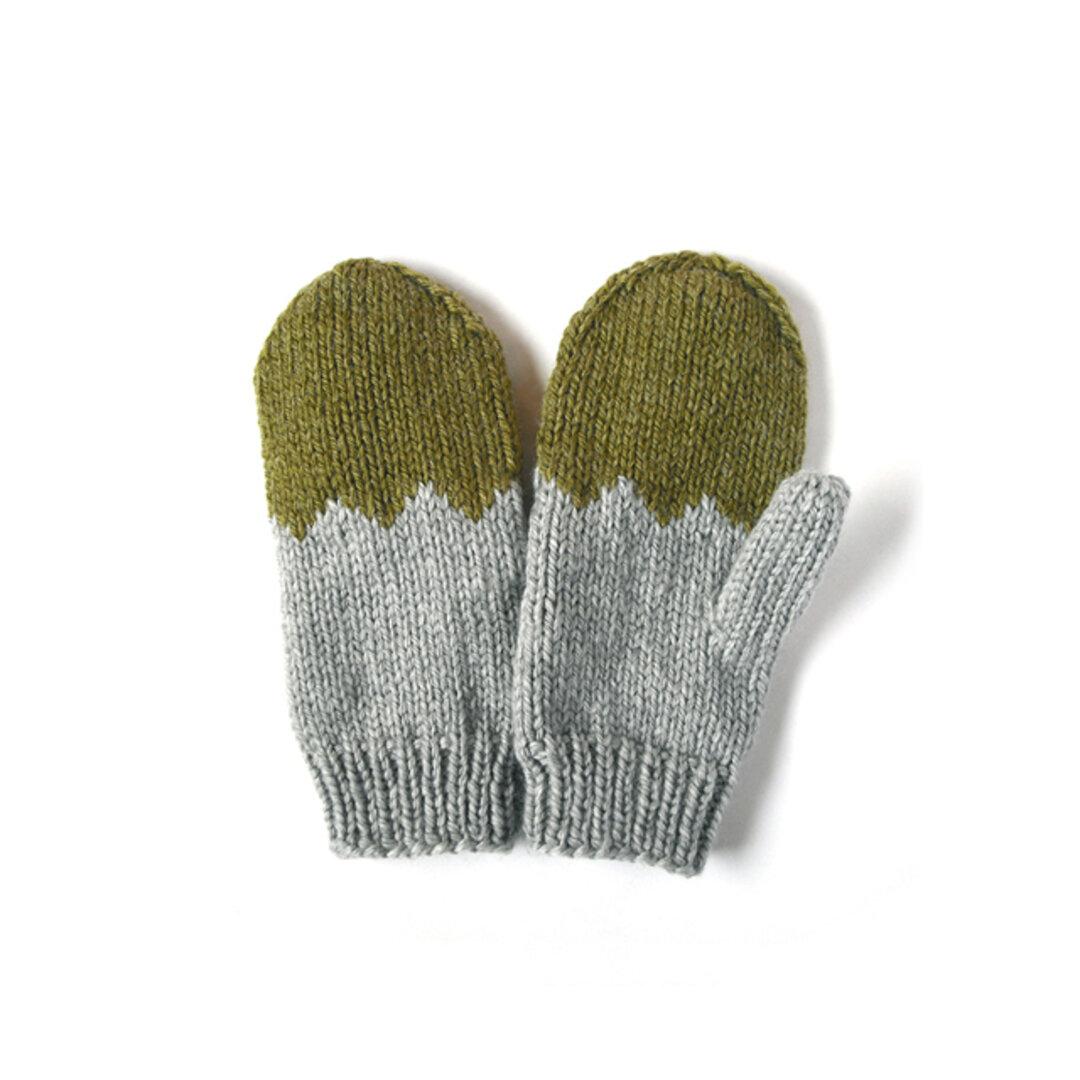北欧風 オリーブ&グレーあったかミトン(手袋)