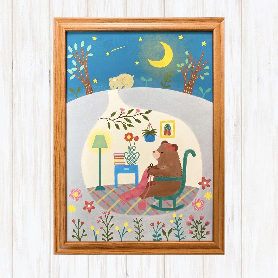 マフラーを編むクマ インテリアポスター