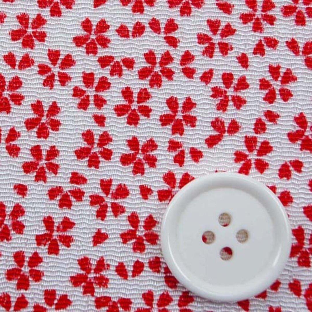 レーヨンちりめん 日本の伝統柄 桜 白地に赤色  【ハンドメイドのための小さな布】 0643-67
