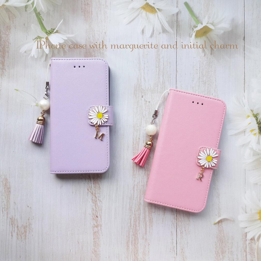 マーガレット&イニシャル ♥ 手帳型ケース ♥ iphone12 12Pro iphone8 iphoneSE2 他 シンプル レザー調