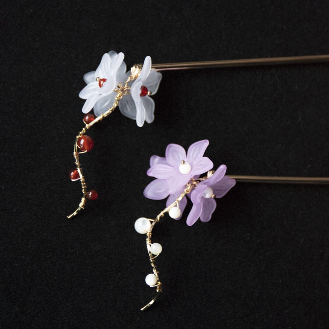 お花のかんざし 天然石赤瑪瑙OR貝パール 簪 和装ヘアアクセサリー