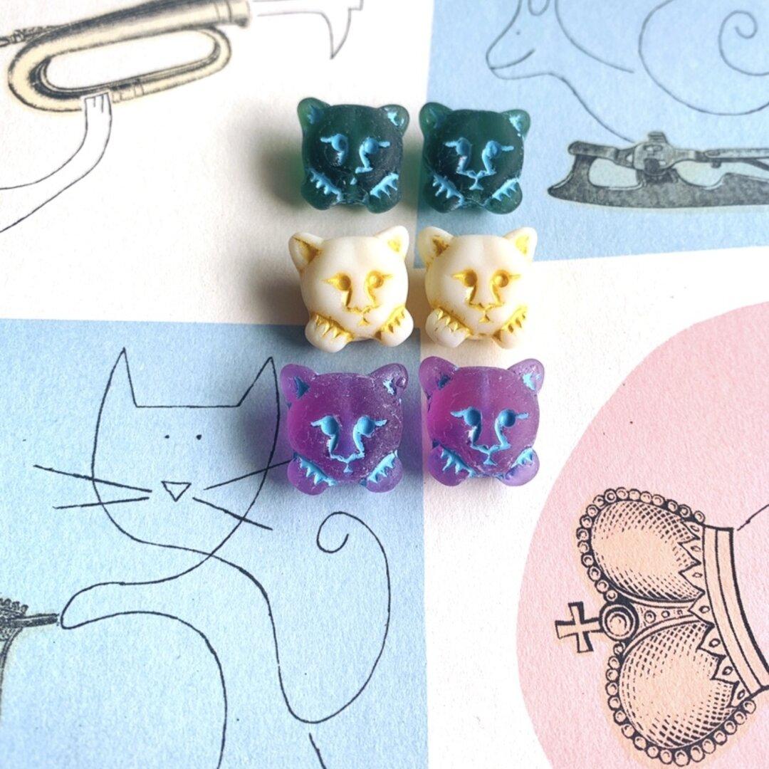 レア【6コセット】JIRI*IVANA#czech beads#チェコビーズ cat17㎜ 考える猫 mixassort①