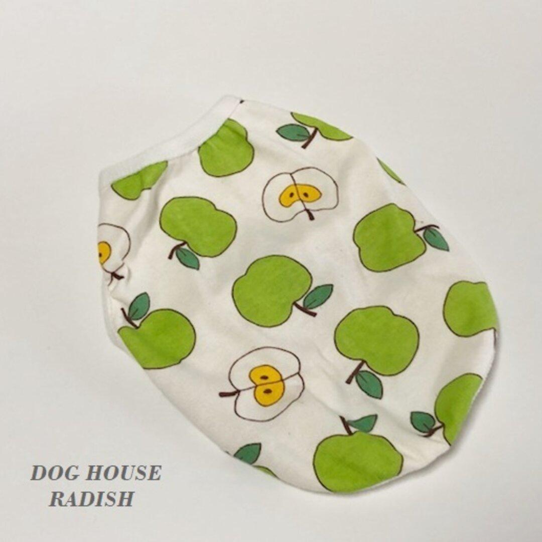 タンクトップ りんご柄 【青リンゴ】 Dog 犬服 ドッグウェア 春秋 林檎