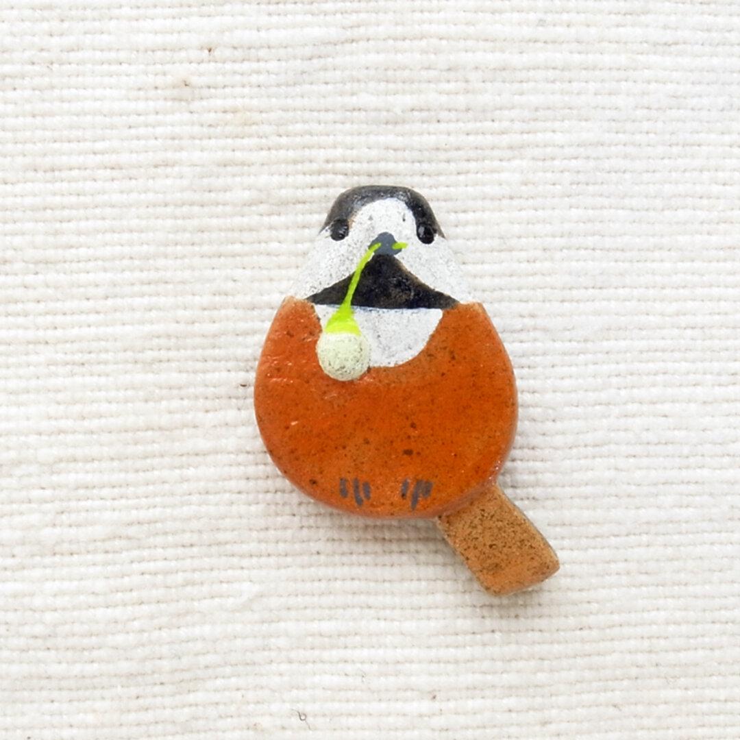 【受注制作】エゴノキの実とヤマガラのブローチ 野鳥(マグネット変更可)