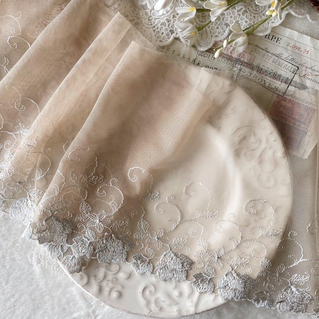 1m 広幅 美しい 花 フラワー刺繍 チュールレース ブラウン系 BK210701 ハンドメイド 手芸 素材 材料
