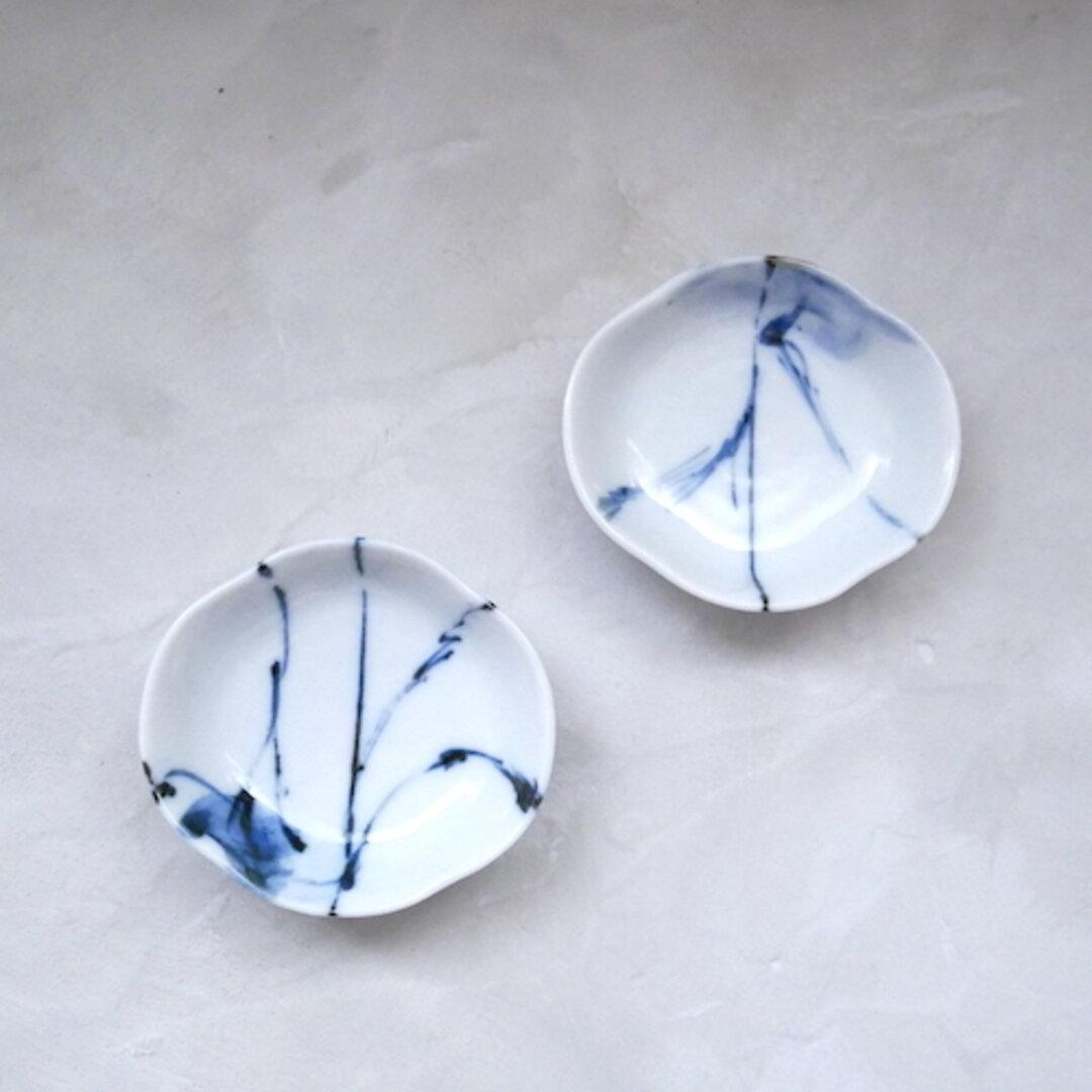 2個セット つば型 豆小皿 和食器 九谷焼 器 うつわ 染付 青 ブルー 抽象柄 no.035