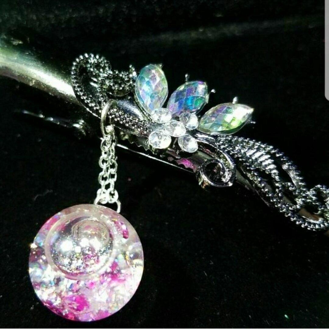 液体ガラスドーム スワロフスキー ビジューヘアピン ピンク
