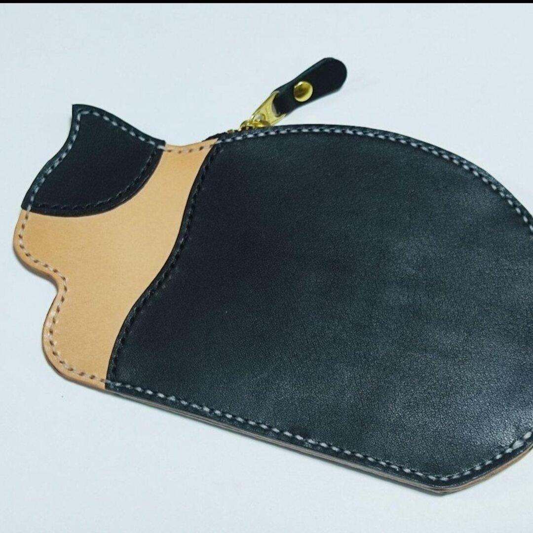 本革 猫ちゃんカードケース コインケース 財布