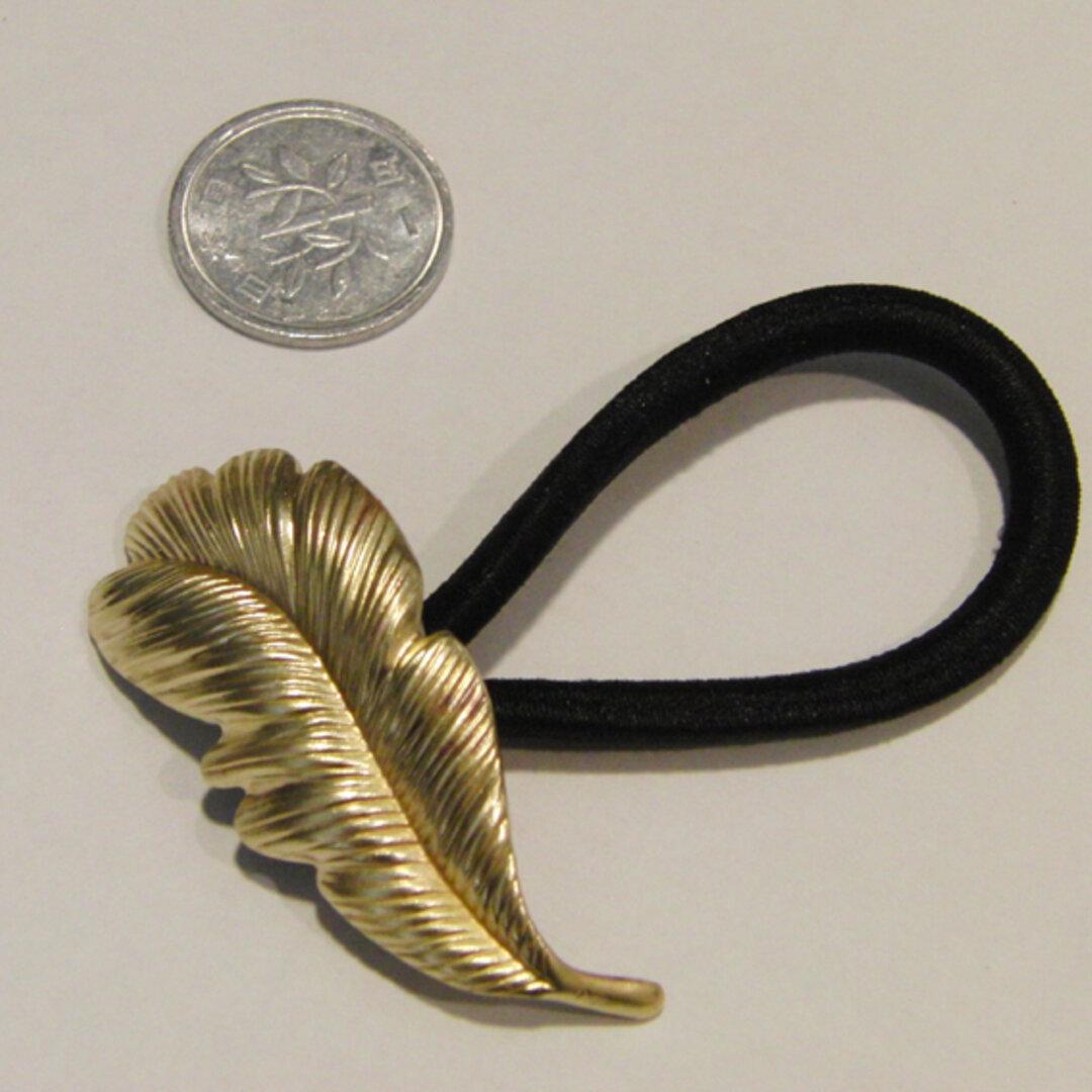真鍮ブラス製 フェザー羽デザインマルカン溶接ヘアゴムコンチョ/伸びたゴム交換可能