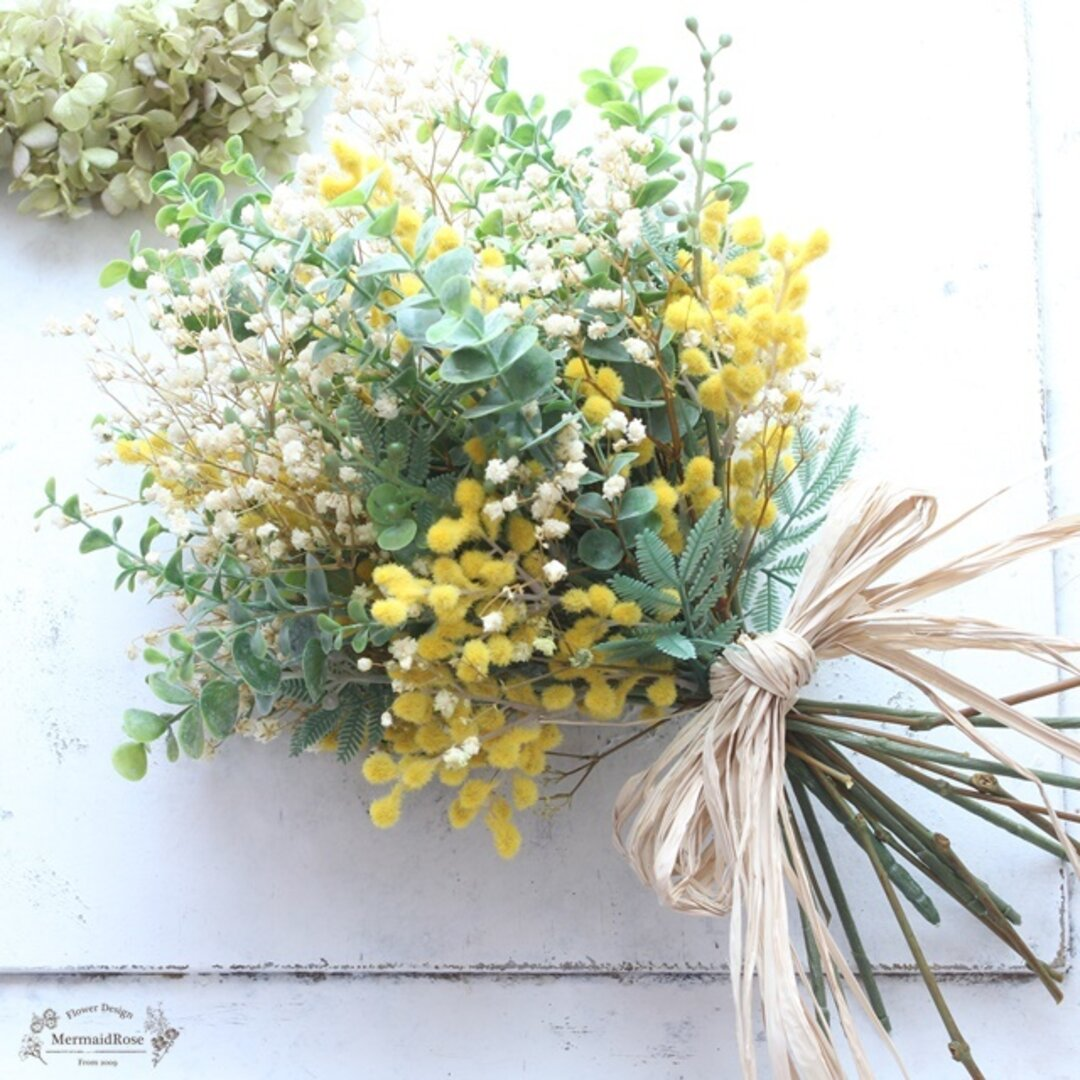 ミモザとかすみ草とユーカリの草原ブーケ&ブートニア