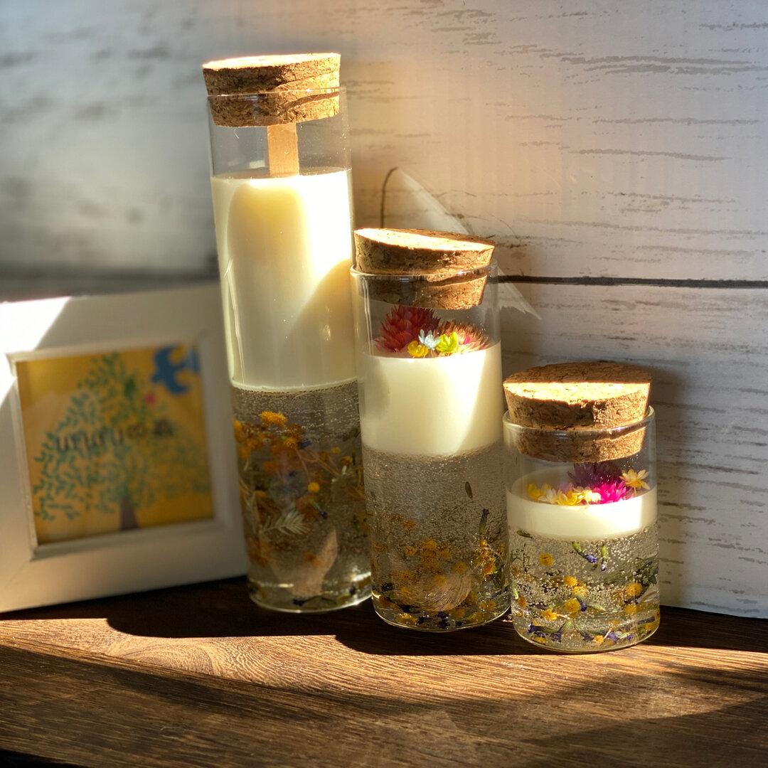 『コルク瓶に香りをギュッと詰め込んで…』ミモザとラベンダー畑の癒しのキャンドルセット