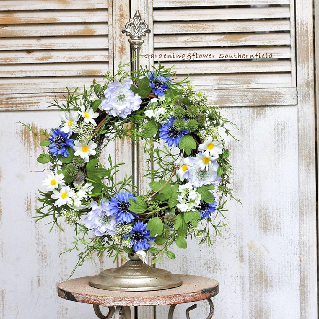 ナチュラル造花リース アーティフィシャルフラワー ロメロアスターリース インテリア雑貨 ガーデニング