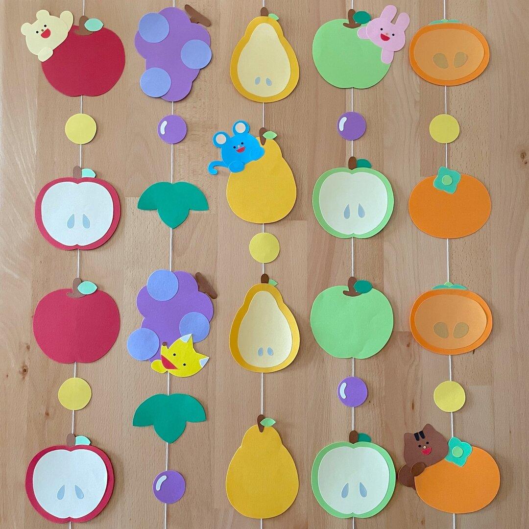 果物いっぱい♪ 秋の吊るし飾り 壁面飾り  9月 10月