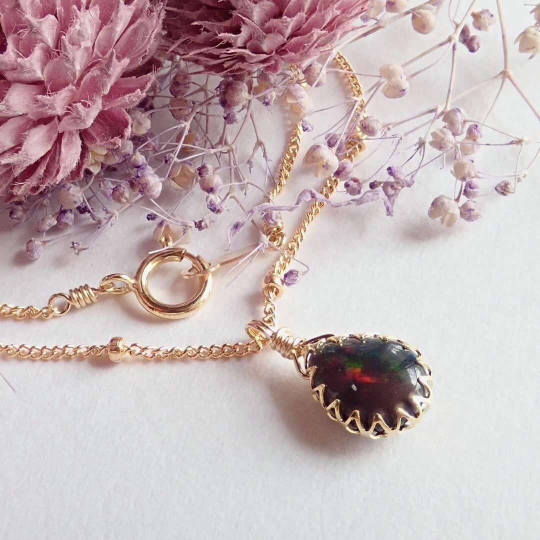 新作//k14gf*宝石質ブラックオパールのベゼルネックレス