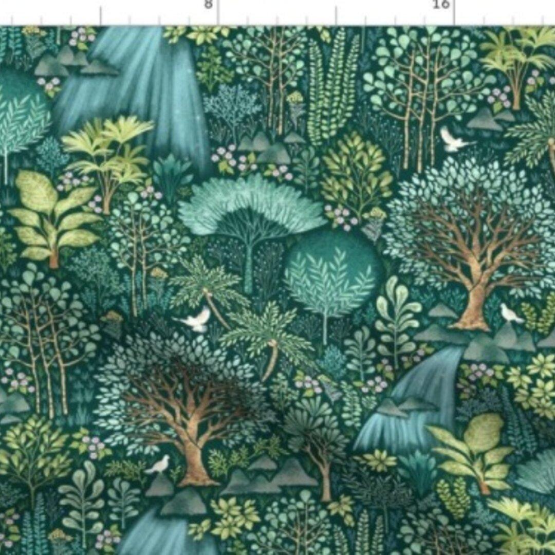 輸入生地 生地 熊 ベアー ふくろう キツネ オウル フォックス 森林 エメラルド 森 動物 ハンドメイド素材 緑 自然
