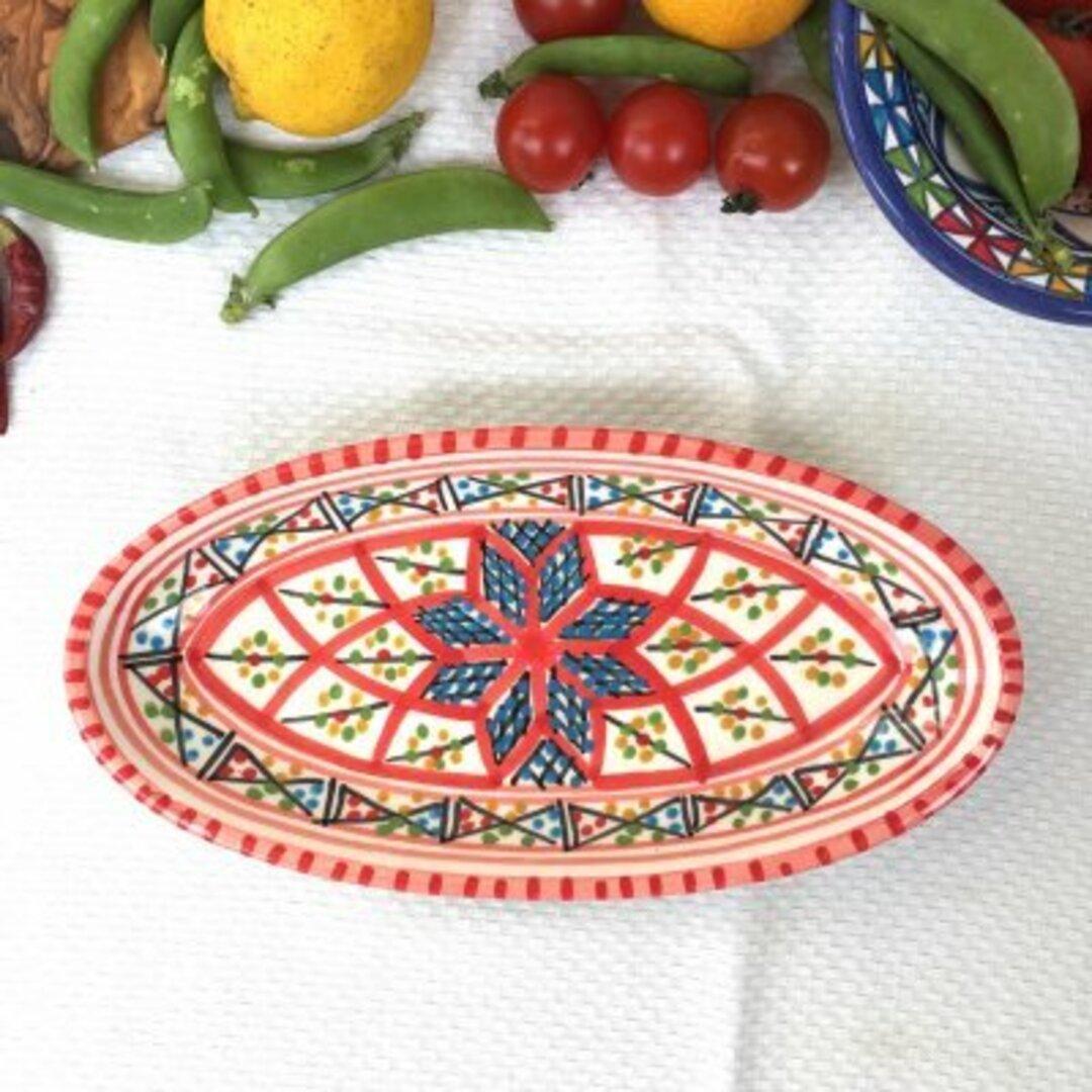 チュニジア・ナブールの陶器 食欲増進ベルベルの赤 27 オバール24cm