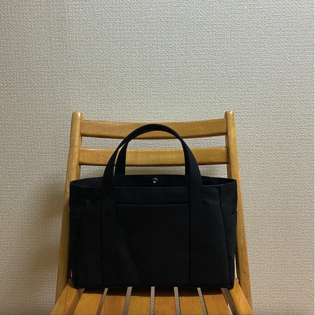 「ポケットトート」横長サイズ「ブラック(黒)」倉敷帆布8号【受注制作】