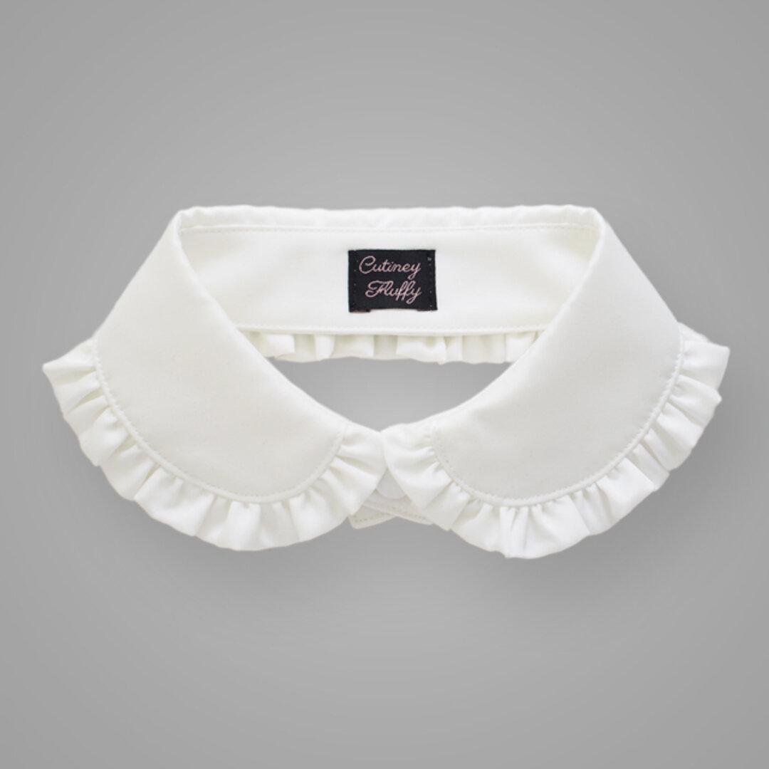 つけ襟 フリル 丸襟 サテン ホワイト ブラック 黒 白
