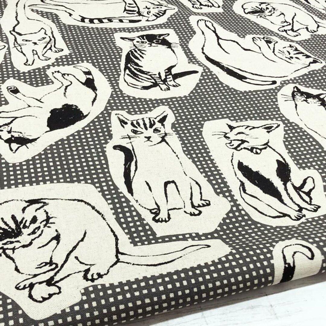 110×50 猫柄 生地 チェック×ネコ綿麻キャンバス グレー コットンリネン 50cm単位販売 北欧風 商用利用可 生地 猫 ねこ ネコ 黒猫