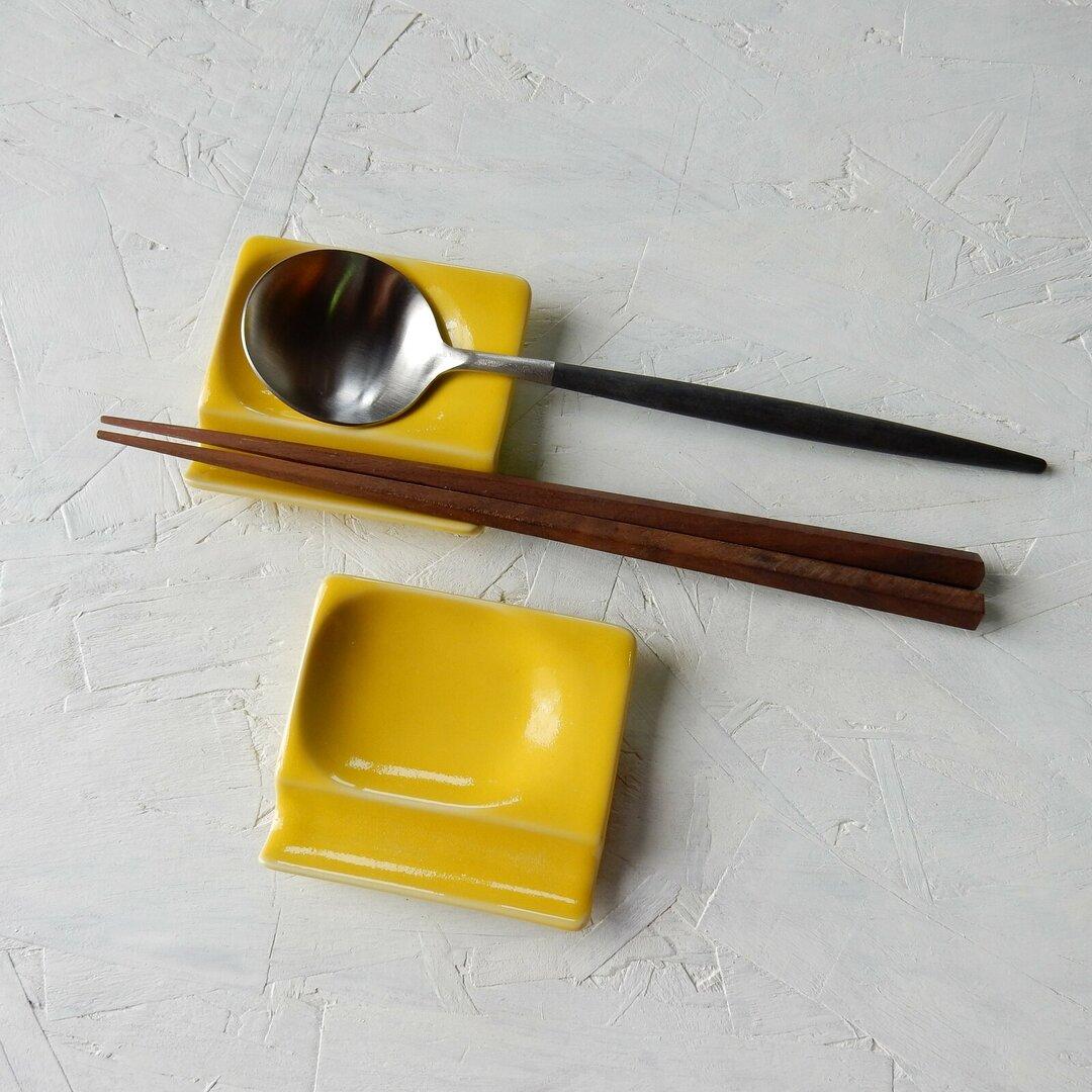 お箸とスプーン置き小皿 【イエロー】