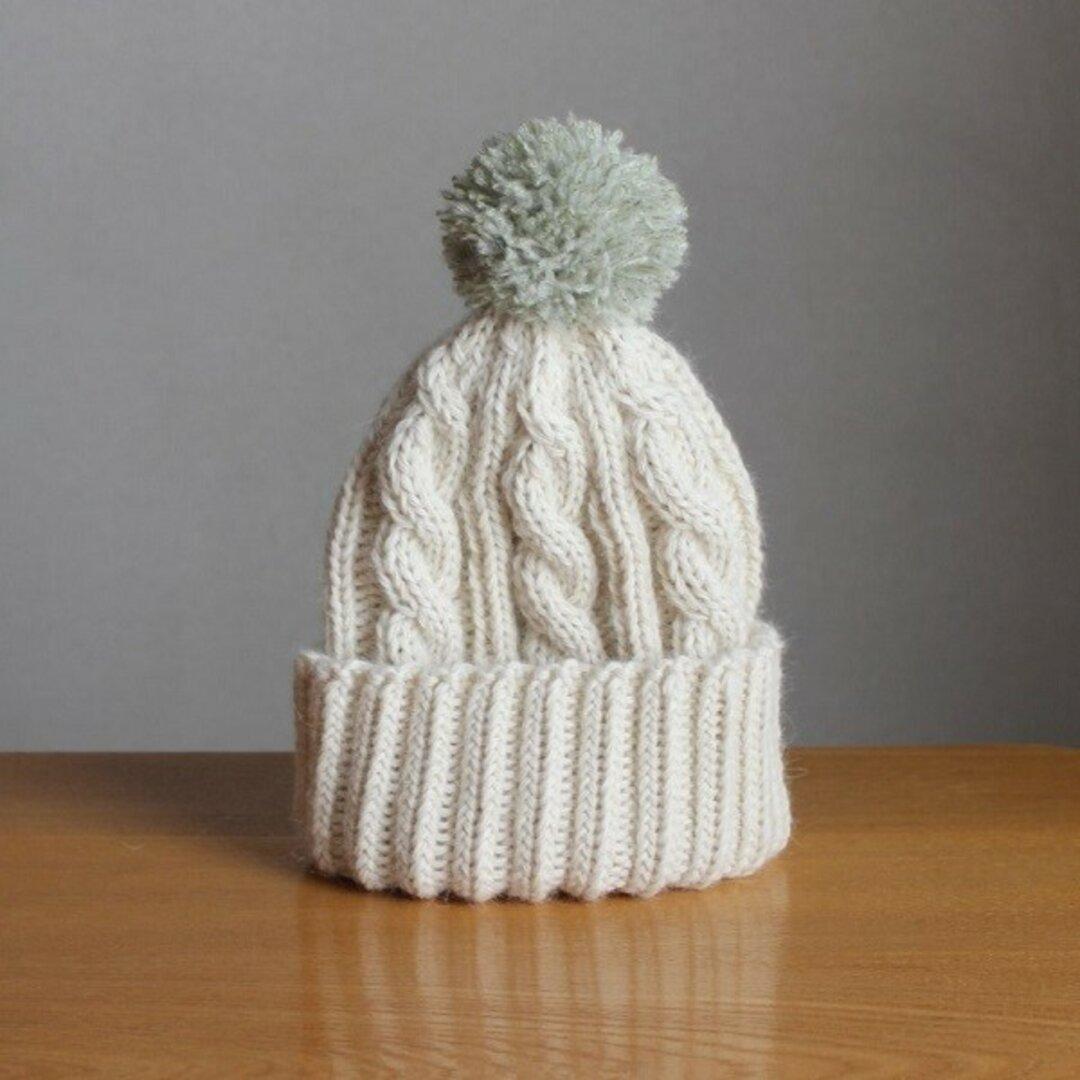 キッズニット帽子(ミルキーホワイト・ポンポングリーン)