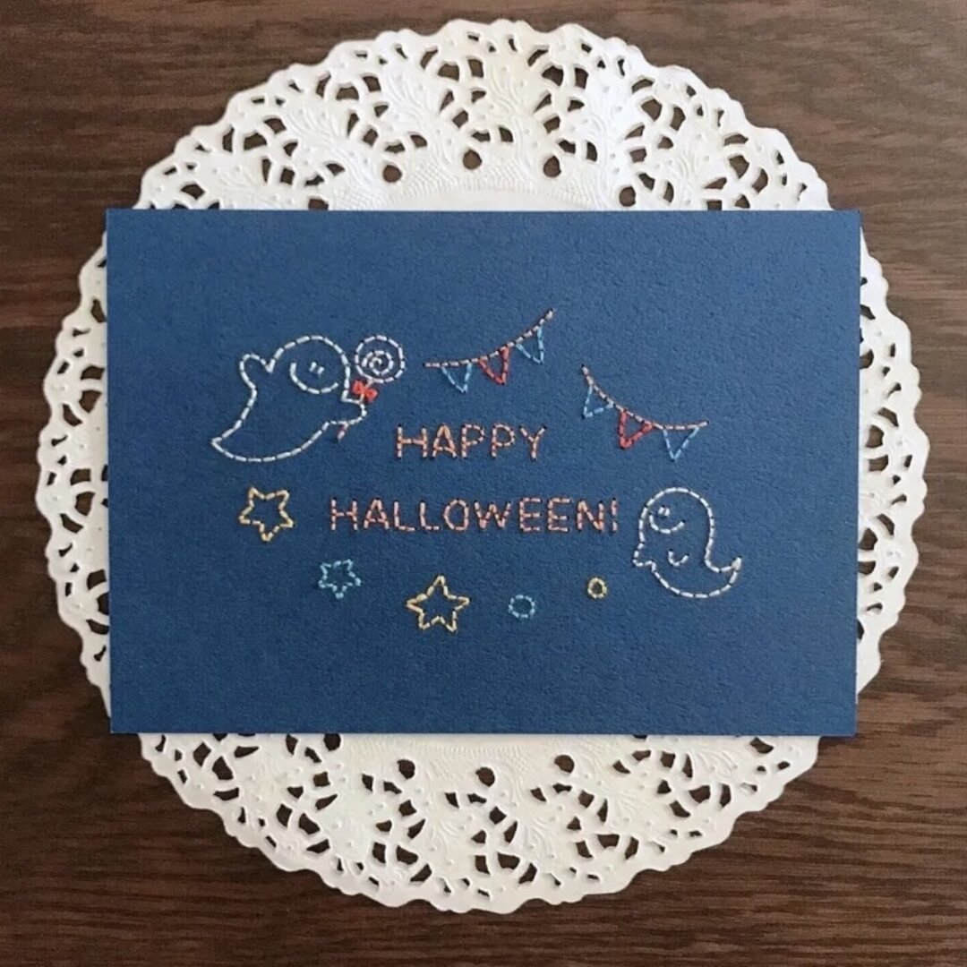 紙刺繍のハロウィンカード