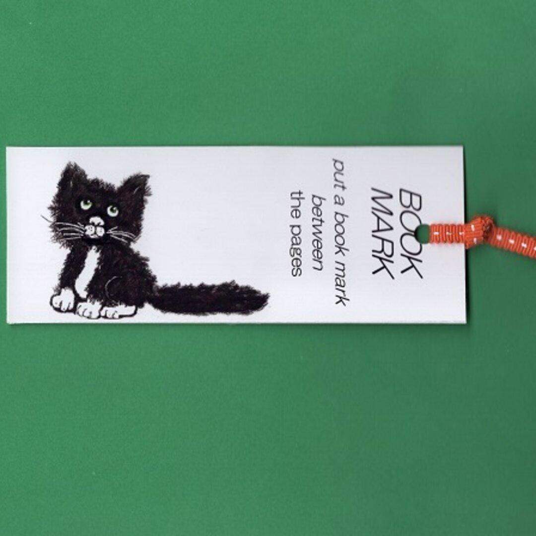 しおり2枚 両面癒しの猫 イラスト黒ちゃん