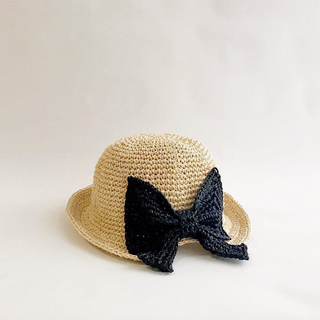 RIBBON's hat ベージュ×ブラック《ベビー・キッズサイズ》