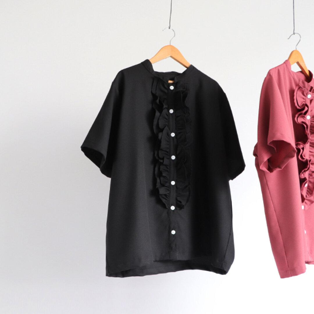 ●9月30日まで最終SALE『大人甘めの ふりフリル シャツ』気軽フォーマルとろみ素材 少し長めの半袖ブラウス ジャケット H23B