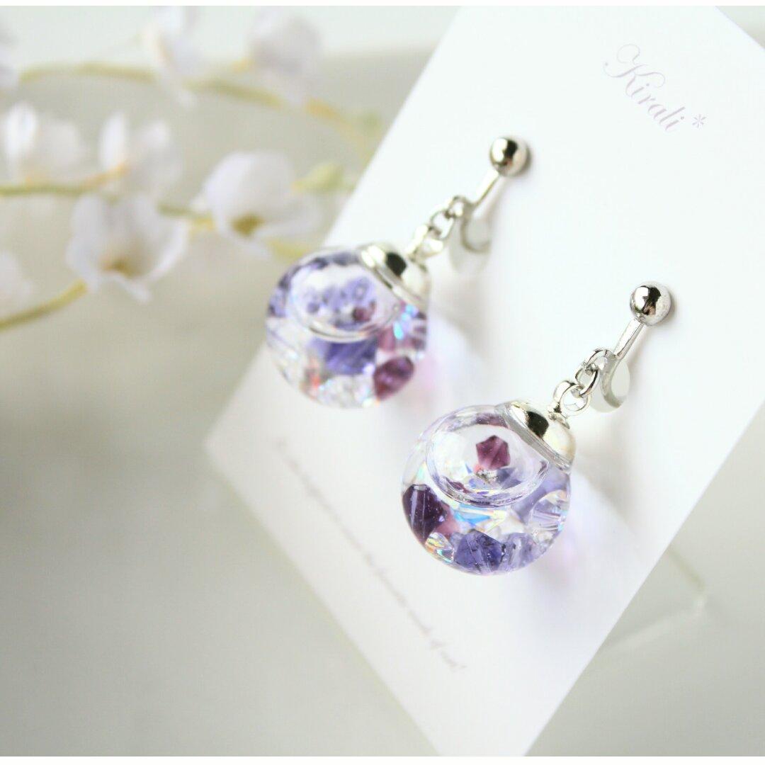 紫陽花*スワロフスキーの液体ガラスドームイヤリング