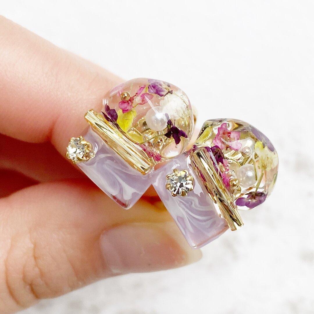 レジンのアリッサム花鉱石バイカラーリング くすみパープル 9号 11号 フリーサイズ